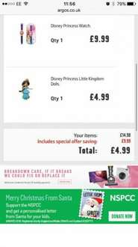 Disney little princess  Doll £4.99 at argos and get a  Free Disney watch