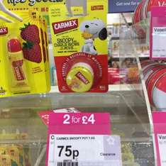 Snoopy Carmex lip balms reduced to clear at Superdrug 75p