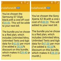 Vodafone Retention Deal Sony XZ £48 for phone then £28.20 p/m & Samsung S7 £20 for phone then £29.40 p/m