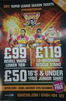 Huddersfield Giants season ticket from £99