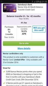 42 months interest free balance tranfers on a CC @ sainsburys bank (Nectar card bonus)