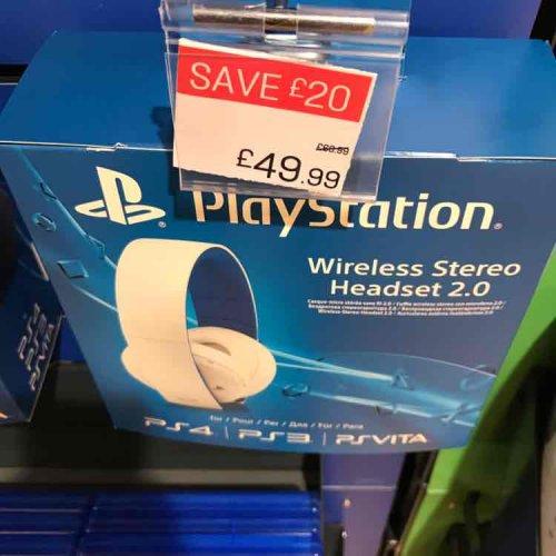 PS4 Wireless Stero Headset 2.0 BLACK+WHITE £49.99 @ Argos