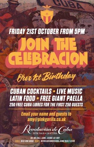 Free Cuba Libre (rum+coke) and paella at Revolution De Cuba LEEDS Fri 21 October