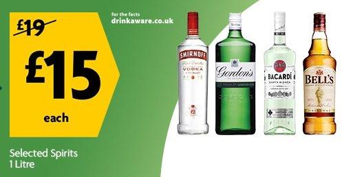 Selected Spirits Gordons Gin 1lt,Smirnoff Vodka 1lt, Bells Whisky 1Lt + others listed below £15 @ Morrisons
