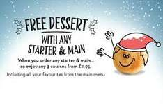 Book a table for Christmas and get £10 voucher off next meal plus any dessert free with starter & main course @ Pizza Express