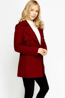 Wool Blend Maroon Lined Winter Coat just £5.00 (£8.95 delivered) at Everything5Pounds