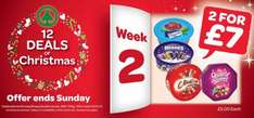 Roses/Heroes/Celebrations/Quality Street tubs 695-750gm 2 for £7 @ Spar NI.