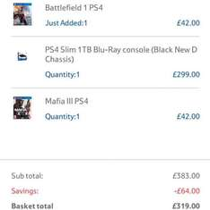 Ps4 slim 1Tb mafia 3 and battlefield 1 £319 @ Tesco