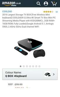 [Free Wireless Mini keyboard] QBox Ultra 4K Smart TV Box Mini PC Streaming Media Player with KODI(XBMC) , 2GB RAM+ 16GB ROM, Android 5.1, S905 £55.99 Sold by COOLEAD and Fulfilled by Amazon
