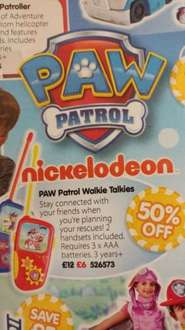 Paw Patrol Walkie Talkies £6 at The Entertainer