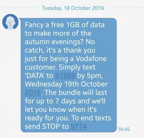 Free 1gb data on vodafone!