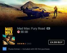 Mad Max: Furry Road £4.99 HD on iTunes with extras