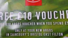 Argos free £10 voucher per £50 spend.  Newhaven and Bristol only, store specific