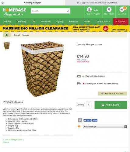 laundry hamper  £14.93 HOMEBASE