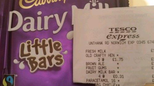 Kids dairy milk bars 6 x 18g = 31p tesco
