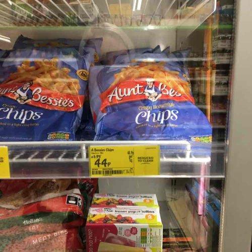 Aunt Bessie's chips 900g Asda 44p