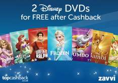 Zavvi - Two FREE Disney DVDs (Disney two for £12 offer)  for new Topcashback accounts