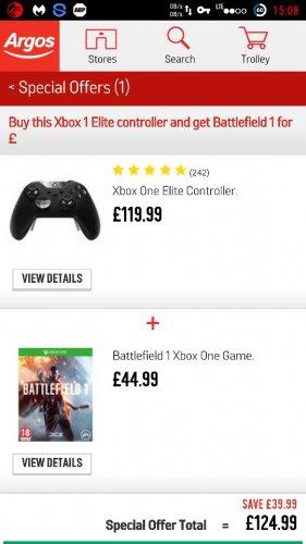Battlefield 1 & elite controller xbox one/s £124.99 Argos