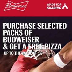 Purchase selected packs of budweiser & get a free pizza up to the value of  £3 (Morrisons or Co-op)