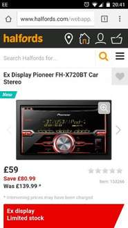 Halfords car stereo clearance