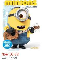 Minions 2016 annual reduced to 99p from £7.99 free click and collect house of Fraser