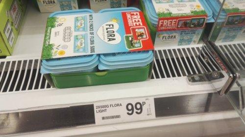 Flora Light 2x500g + Free lunchbox ( 99p ) Farmfoods Preston