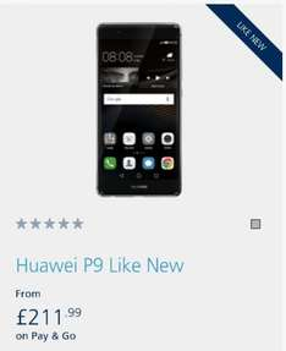 """like new"" Huawei P9 £211.99 @ O2"