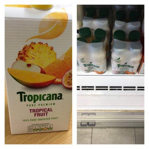 1.5 litre tropicana tropical fruit & x4 250ml tropicana orange £1.00 each at poundland