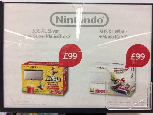 Nintendo 3DS XL bundles (Mario Kart 7 or Super Mario Bros 2) £99 Tesco instore