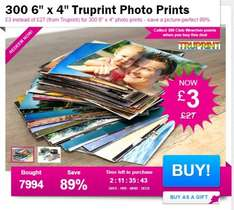 """300 6"""" x 4"""" Truprint Photo Prints @ Wowcher for £4.99 inc delivery"""
