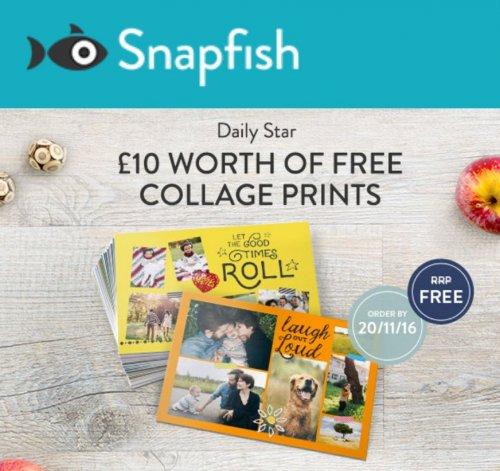 £10 of Free Collage Prints p&p £1.99 @ Snapfish