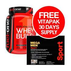 Fuel One 100% Whey Build + FREE Mega Men Sport Vitapak 30 Day Supply 1.8kg Tub -52 Servings !! Ends tonight - £29.49 - Discount Supplements