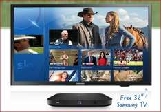 """Free Samsung 32"""" TV with Sky £20 PM Package + £110.25 Cashback = Total £129.75"""