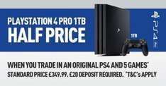 PS4 Pro 50% Off when you trade in a ps4 and 5 games @ GAME