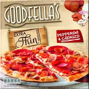 Goodfella's Extra Thin Pizza Pepperoni & Chorizo / Mozarella & Pesto 99p @ Farmfoods