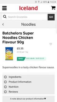 Batchelors super noodles 35p iceland all flavours. In store and online