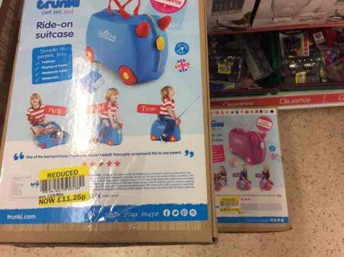 Trunki Ride on Suitcases (blue & pink) £11.25 @ Tesco -  Ashford (Park Farm)