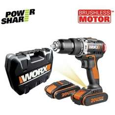 Worx 20V 1.5Ah Brushless Hammer Drill with 2 Batteries £84.99 @ Argos Reduced by £65.