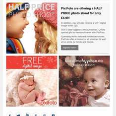 Pixifoto at mothercare offering half price photo shoot with free gift  £4.99 instore @ Mothercare