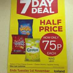 Iceland 7day deal  Wotsits 6, Squares 6, Quavers 6 - all 75p each