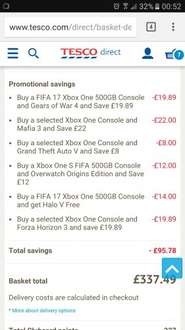 Credit to original OP - Back on 7 game bundle Xbox one S Fifa 17 500gb with Gears 4, GTA V, Forza Horizon 3, Overwatch, Mafia 3, Halo V £337.49 @ Tesco Direct