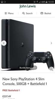 PS4 Slim 500GB with Battlefield 1 and 2 year guarantee included @ John Lewis - £237.49
