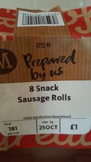 Morrisons prepared by us 8 snack sausage rolls £1 instore