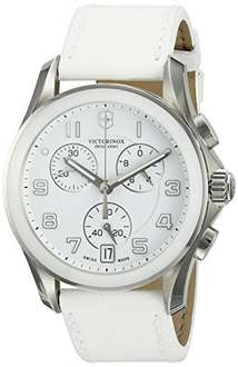 Victorinox Swiss Army Ladies Chrono Classic 241500 - White Enamel Dial - Leather - Ceramic Bezel - Sold by WristClocks and Fulfilled by Amazon for £135