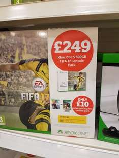 Xbox 500gb fifa 17 with either battlefield 1 or titanfall 2 £259 @ Sainsbury's (instore)