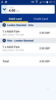 £2  each way Midweek flight London Stansted to Oslo Norway (closest airport to Oslo)  with Ryanair