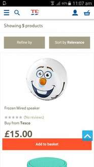 Disney frozen wired speaker £3 instore at Tesco Direct (Plymouth - Transit Way)