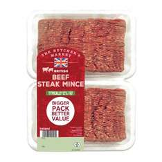 The Butcher's Market British Beef Steak Mince Typically 12% Fat (900g) (£4.44 a Kg) was £5.00 now £4.00 @ Iceland