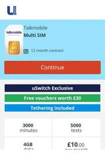 Talkmobile (USwitch Exclusive) 3000 Minutes, 5000 Texts, 4GB Data 12m SIM Only Contract £10 per month - £12 months £120