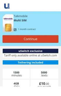 Talkmobile (USwitch Exclusive) 1M SIM Only Contract (1500Min, 5000Text, 4GB) £10 - 1 month contract